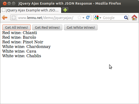 jQuery Ajax Example with JSON Response – Lennu net